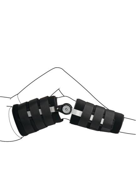 Коленный ортез с регулируемыми шарнирами и жесткими боковыми шинами для иммобилизации или ограничения подвижности в требуемом диапазоне